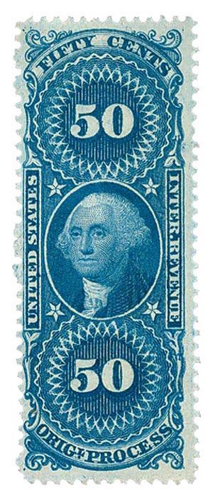 1862-71 50c bl, orig proc,silk paper