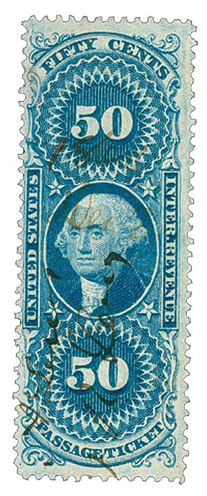 1862-71 50c blue, passage ticket, old paper