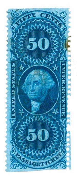 1862-71 50c blue, passage ticket, part perf
