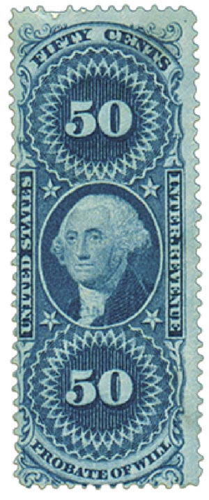 1862-71 50c bl,probate of will,old paper