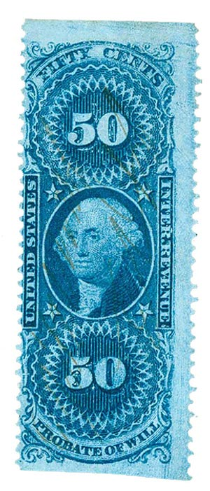 1862-71 50c bl,probate of will,part perf