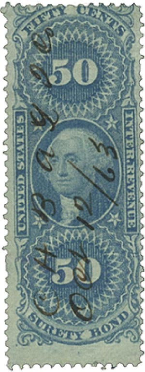 1862-71 50c bl,surety bond,old paper