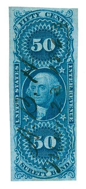 1862-71 50c bl,surety bond,imperf