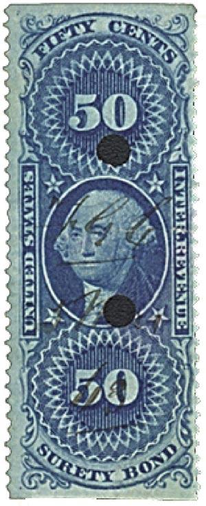 1862-71 50c bl,surety bond,part perf