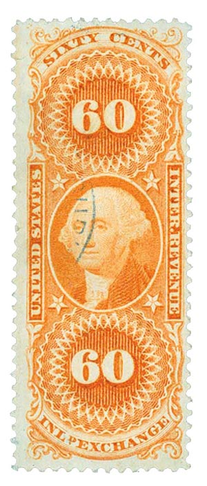 1862-71 60c org,inld exchg,silk paper