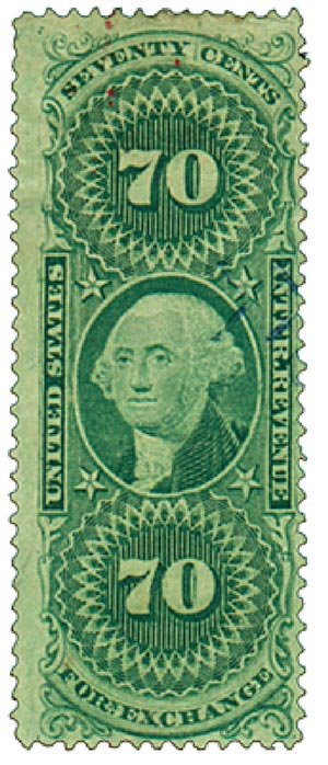 1862-71 70c grn,forn exchg,old paper