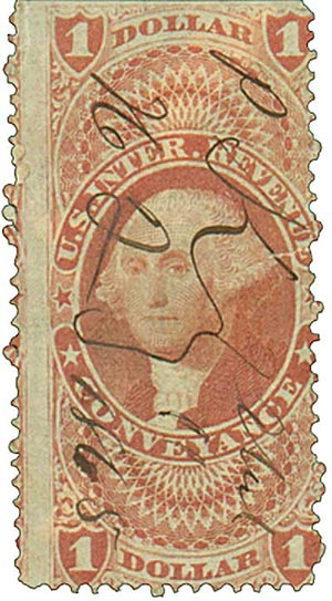 1862-71 $1 red,conveyance, old paper