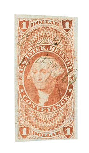 1862-71 $1 red,conveyance, imperf