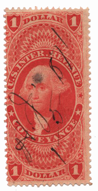 1862-71 $1 red,conveyance,silk paper