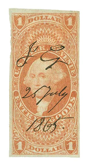 1862-71 $1 red,ent of goods,imperf