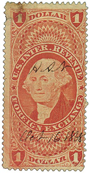 1862-71 $1 red,forn exchg,old paper