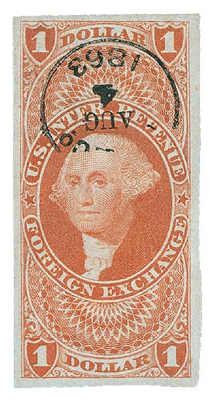 1862-71 $1 red,forn exchg,imperf