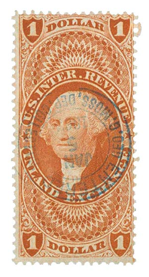1862-71 $1 red, inld exchg,old paper