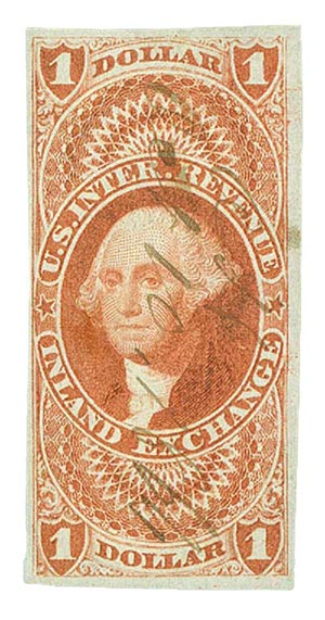 1862-71 $1 red,inld exchg,imperf