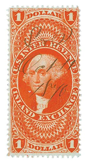 1862-71 $1 red,inld exchg,silk paper