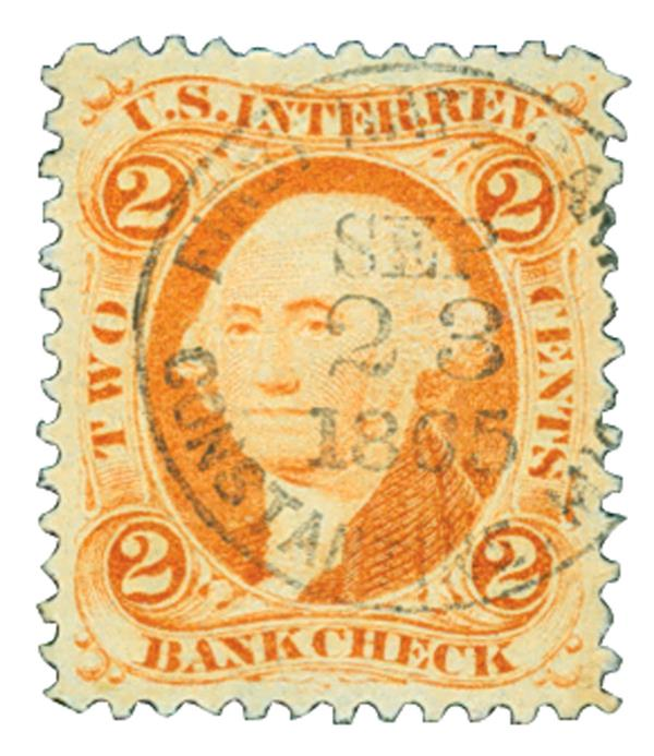 1862-71 2c Bank Check, orange