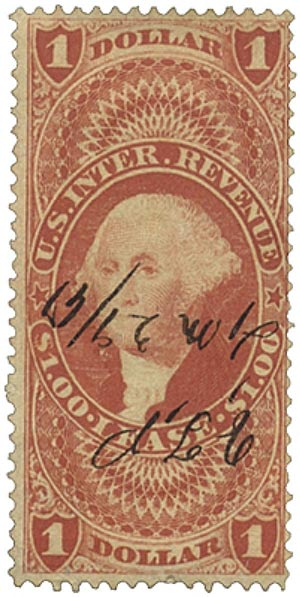1862-71 $1 red, lease, old paper
