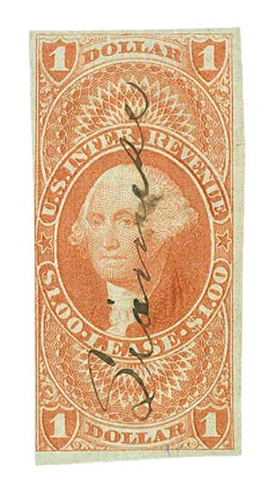 1862-71 $1 red, lease, imperf