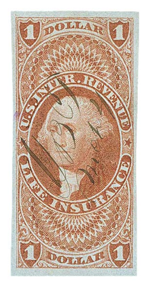 1862-71 $1 red, life ins, imperf