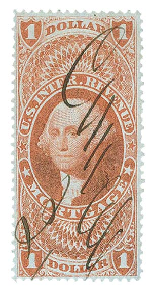 1862-71 $1 red, mortgage,old paper