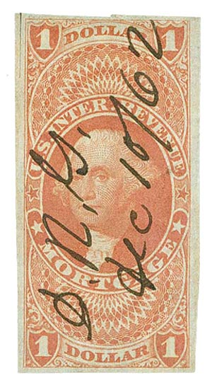 1862-71 $1 red, mortgage, imperf