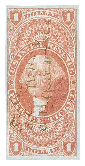 1862-71 $1 red, passage ticket, imperf