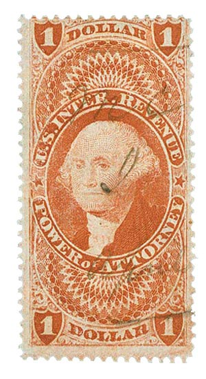 1862-71 $1 red,power of att,old paper