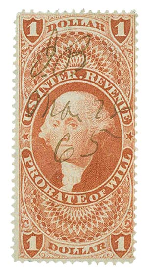 1862-71 $1 red,prob of will,old paper