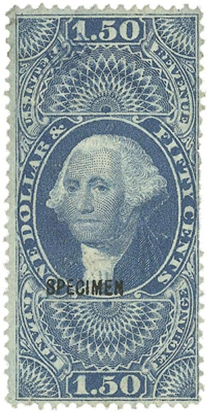 1862-71 $1.50 bl,inld exchg,old paper