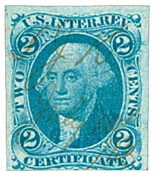 1862-71 2c bl, certificate, imperf