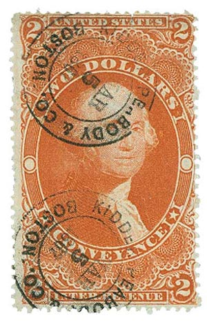 1862-71 $2 red, conveyance,old paper