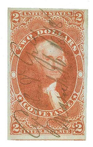 1862-71 $2 red, conveyance, imperf