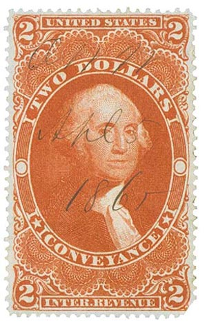 1862-71 $2 red,conveyance,silk paper