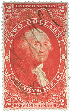 1862-71 $2 red, mortgage,old paper