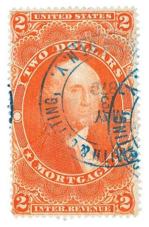 1862-71 $2 red, mortgage, silk paper
