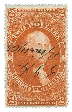 1862-71 $2 red,prob of will,old paper