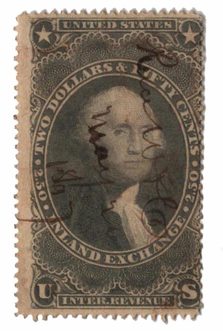 1862-71 $2.50 pur,inld exchg,silk paper