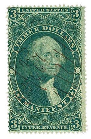 1862-71 $3 grn, manifest,old paper