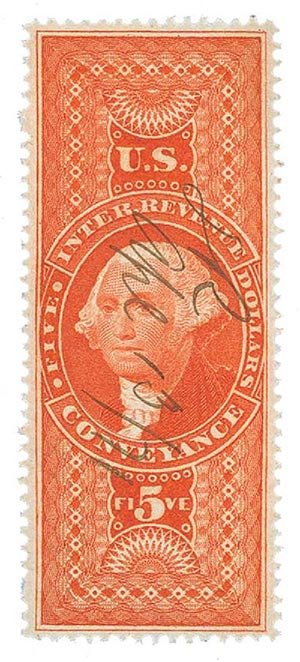 1862-71 $5 red, conveyance,old paper