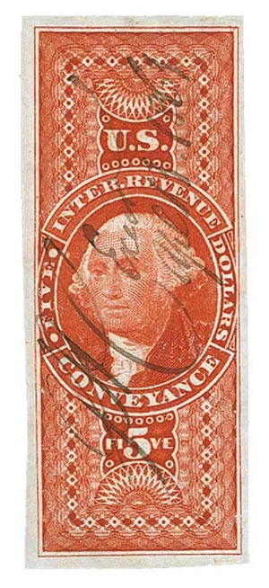 1862-71 $5 red, conveyance, imperf