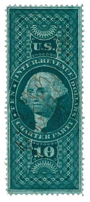 1862-71 $10 grn,charter party,old paper