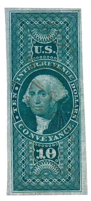 1862-71 $10 grn,conveyance, imperf