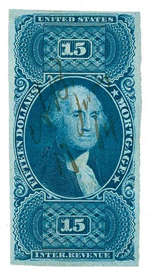1862-71 $15 bl, mortgage, imperf