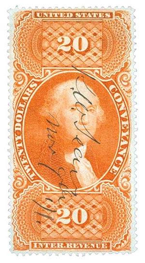 1862-71 $20 conveyance, org, silk paper
