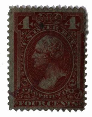 1875-81 4c red brn, silk paper