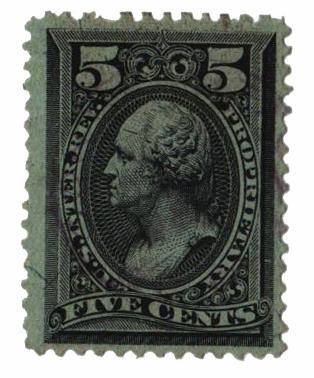 1875-81 5c blk, silk paper