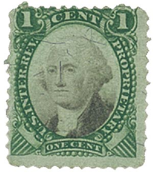 1871-74 1c Proprietary Stamp - George Washington, green & black, violet paper