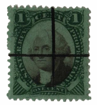 1871-74 1c Proprietary Stamp - George Washington, green & black, green paper