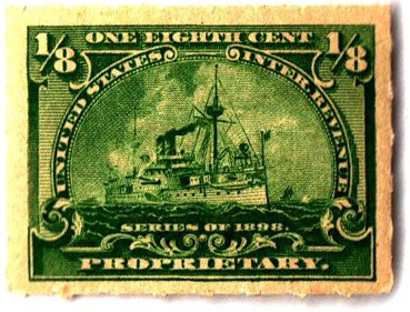 1898 1/8c yellow green, roulette 5 1/2