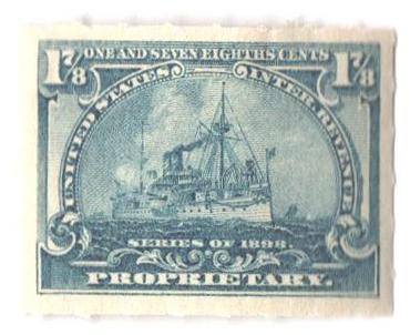 1898 1 7/8c dull blue, roulette 5 1/2